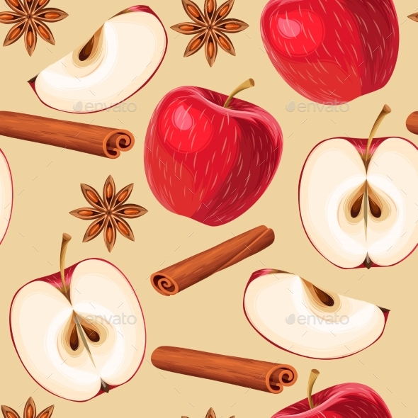 Apple and Cinnamon Seamless - Food Objects