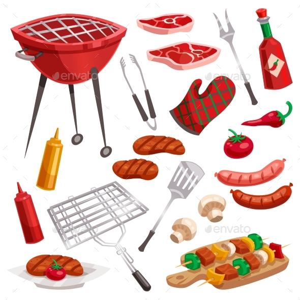 BBQ Grill Elements Set - Food Objects