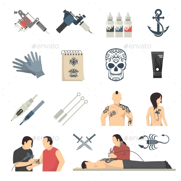 Tattoo Studio Flat Icons Collection - Tattoos Vectors