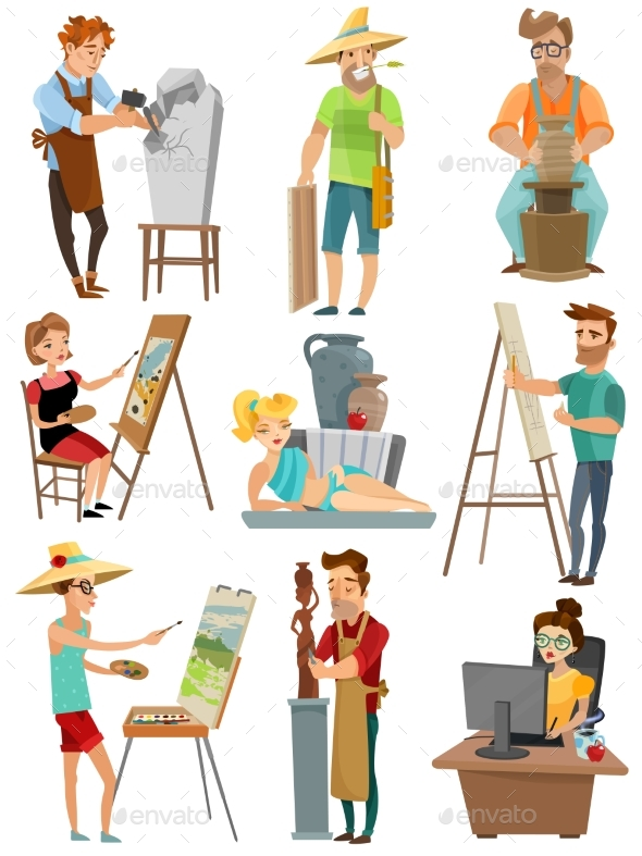 Artist Cartoon Set - People Characters