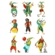 Circus Clowns Icons Set
