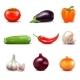 Set of Fresh Vegetables Icons