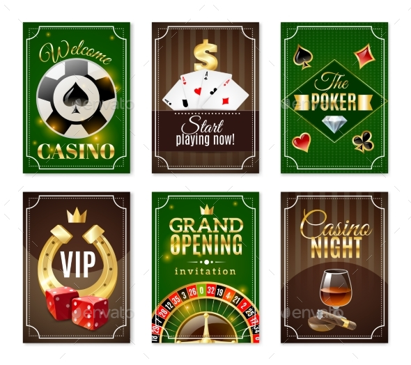 Casino Cards Mini Posters Banners Set - Miscellaneous Conceptual