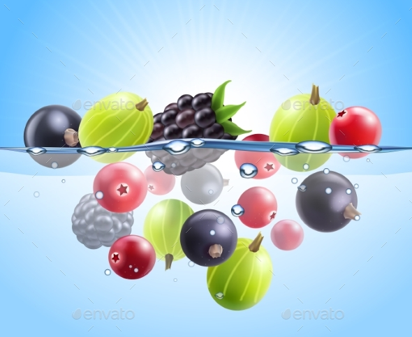 Realistic Colorful Berries Background - Food Objects