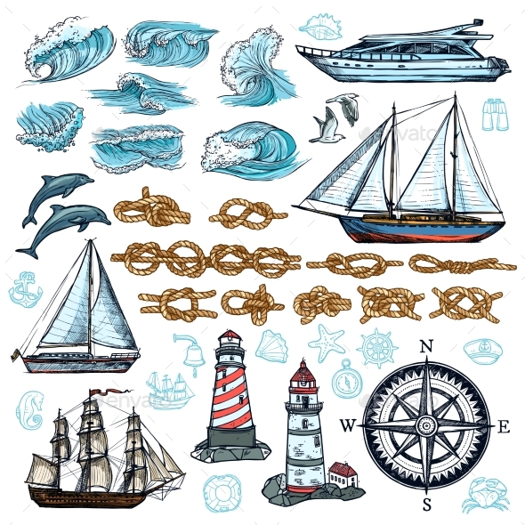 Marine Sketch Set - Miscellaneous Vectors