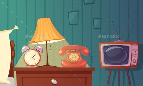 Retro Gadgets Cartoon Composition - Backgrounds Decorative