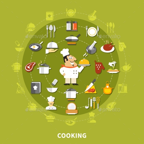 Cooking Icons Circle Collection - Abstract Conceptual