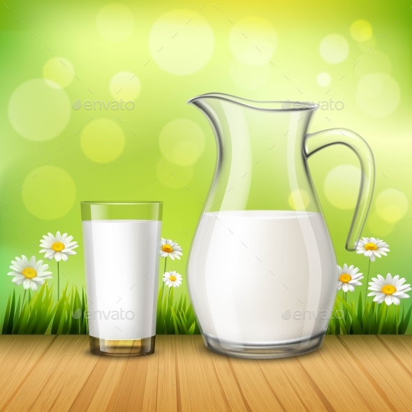 Jug and Glass of Milk - Backgrounds Decorative
