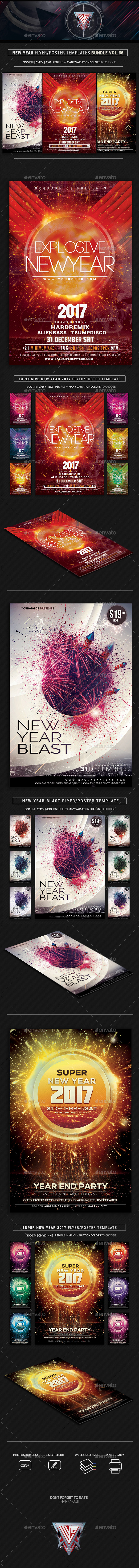 Electro Music Flyer Bundle Vol. 36 - Flyers Print Templates