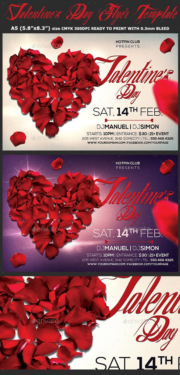 Valentines Day Flyer  Psd Template - Clubs & Parties Events
