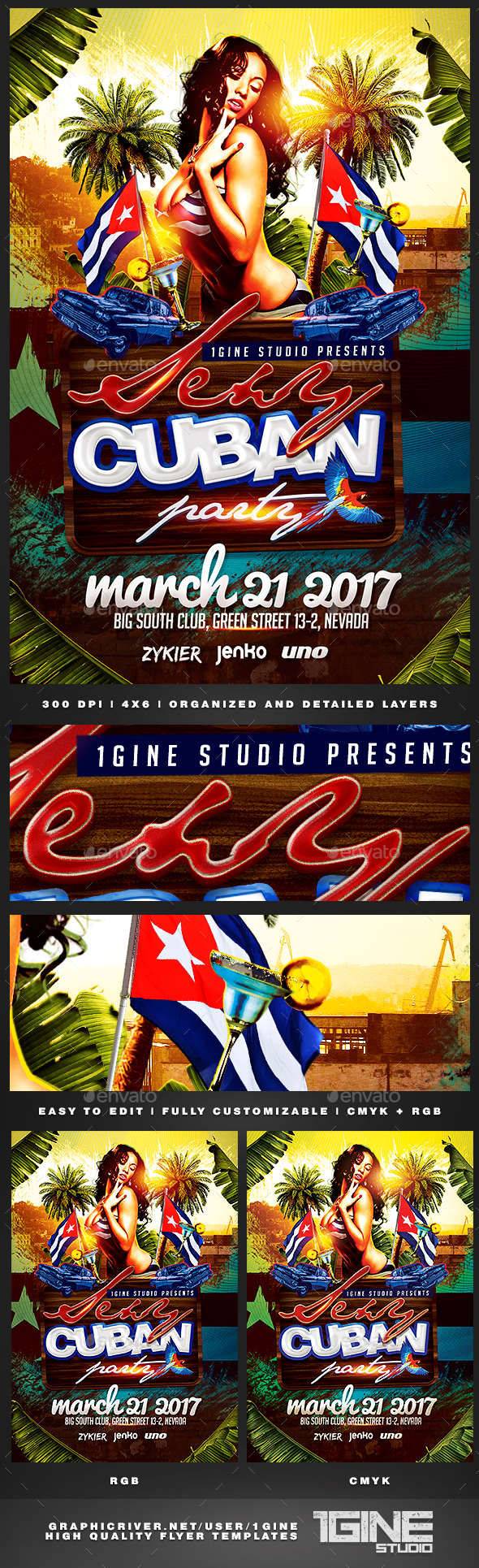 Sexy Cuban Party Flyer Template - Clubs & Parties Events