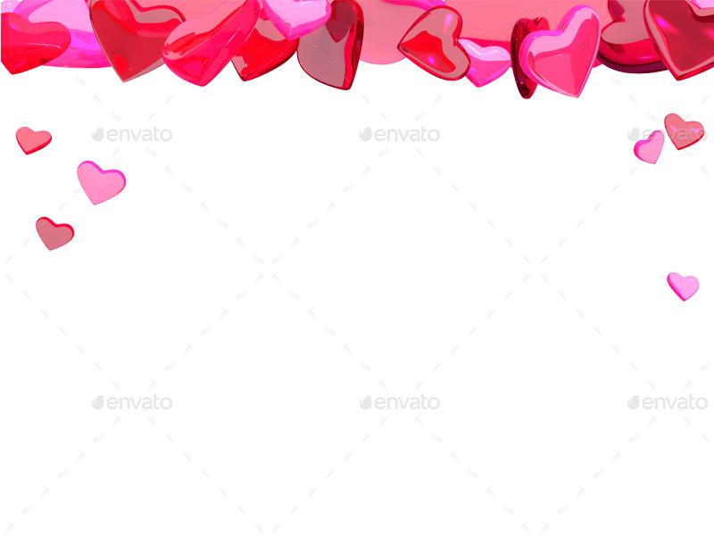 3D Hearts Transparent Background
