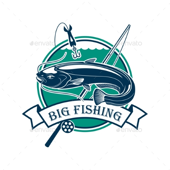 Big Fishing Sport Club Emblem - Sports/Activity Conceptual