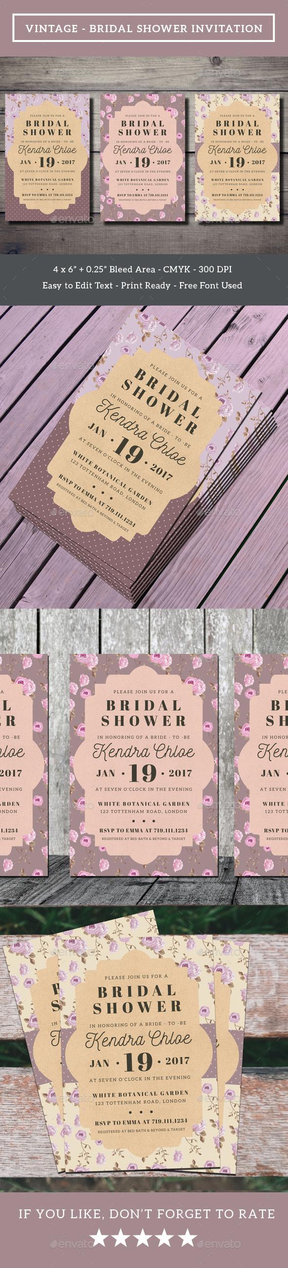Vintage - Bridal Shower Invitation - Weddings Cards & Invites