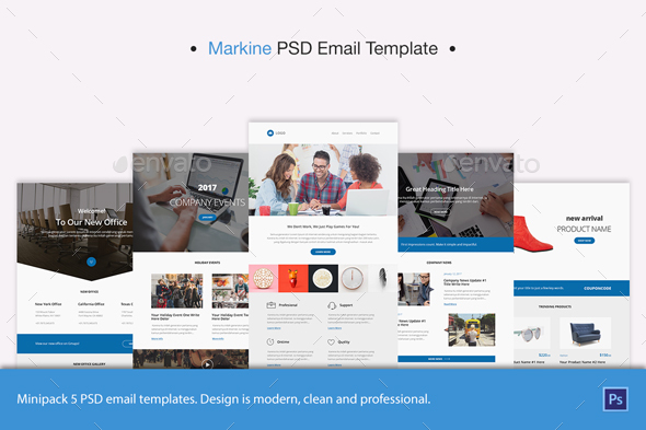 Markine PSD Email Template - E-newsletters Web Elements