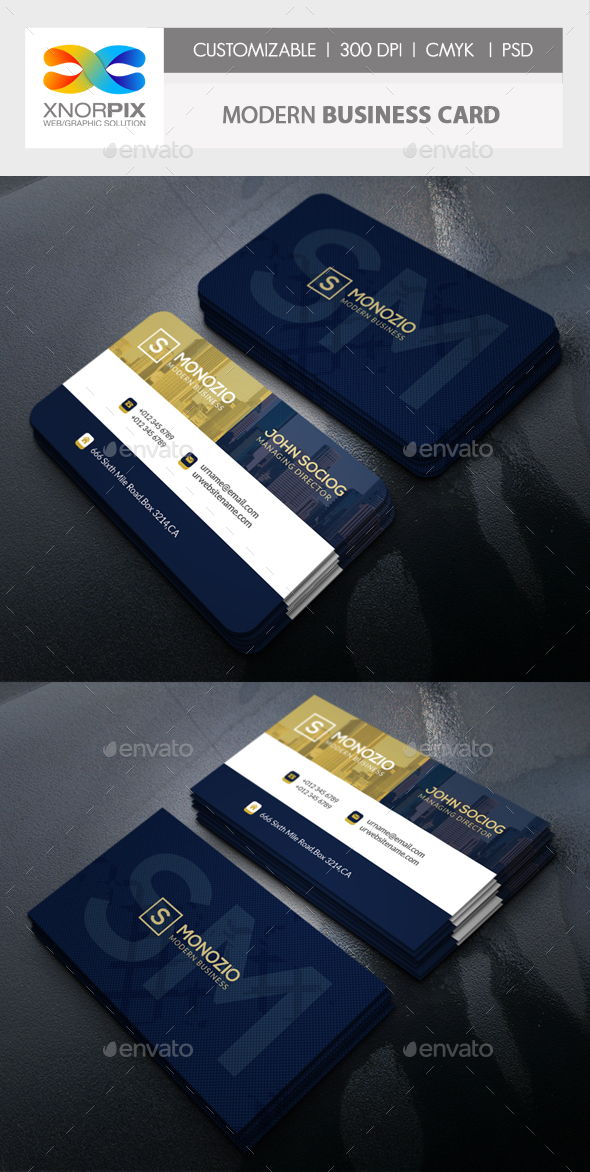 Modern Business Card by -axnorpix | GraphicRiver