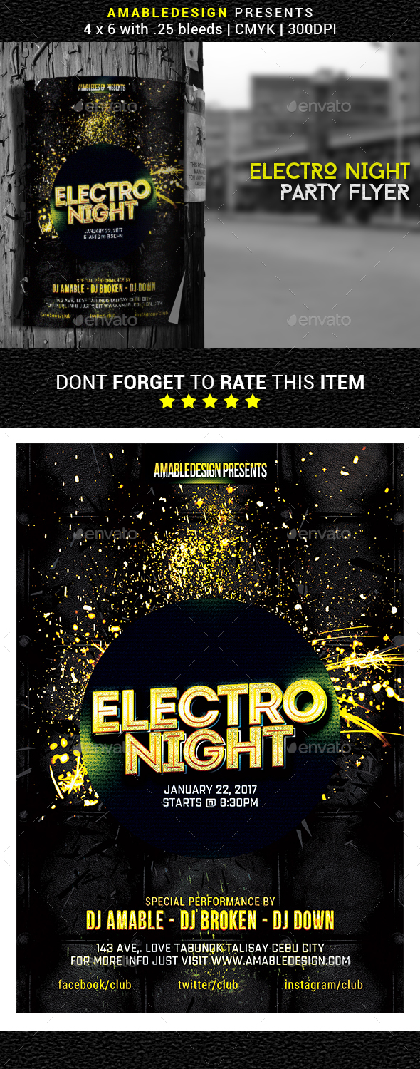 Electro Night Flyer/Poster - Events Flyers