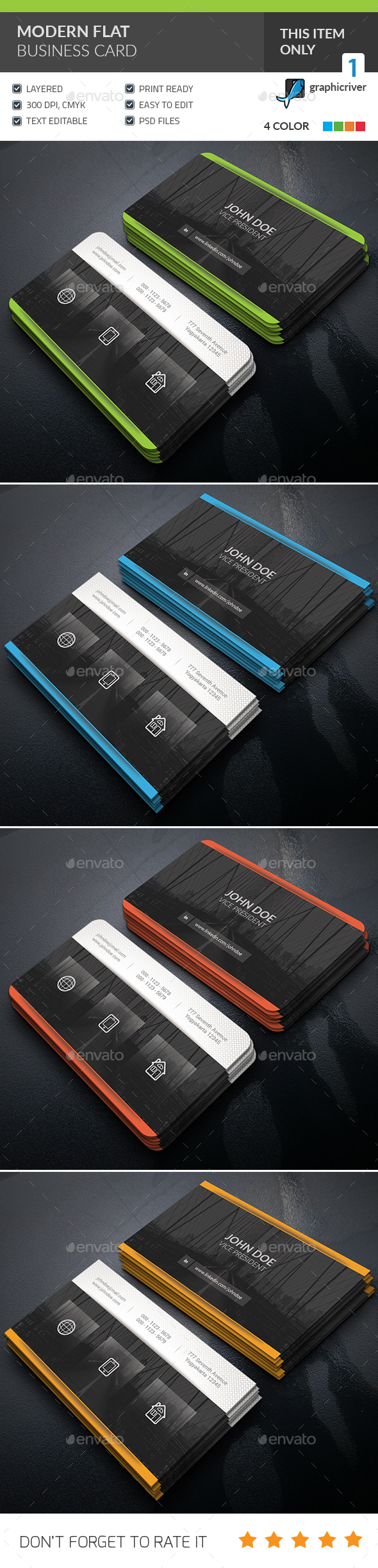 Modern Flat Business Card - Corporate Business Cards