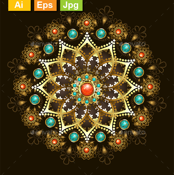 Golden Mandala with Turquoise - Decorative Symbols Decorative