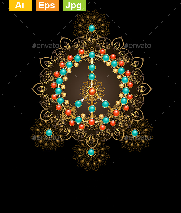 Peace Symbol with Turquoise - Decorative Symbols Decorative