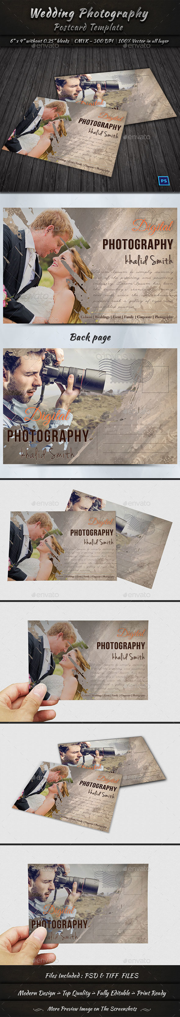 Wedding Photography Postcard Template By GraphicShaper GraphicRiver - Photography postcard template