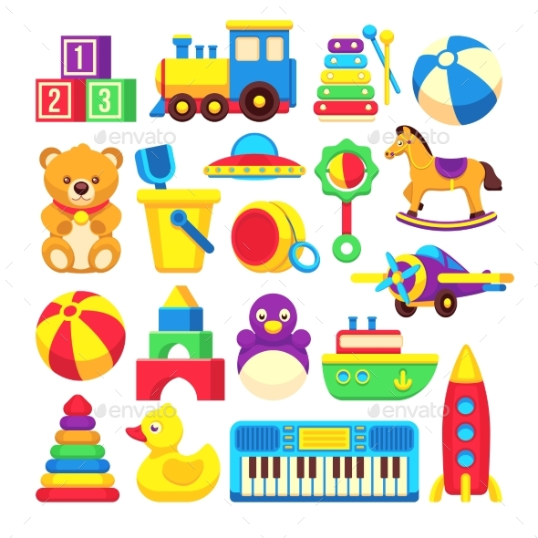 Kids Toys Cartoon Vector Icons Collection - Objects Vectors