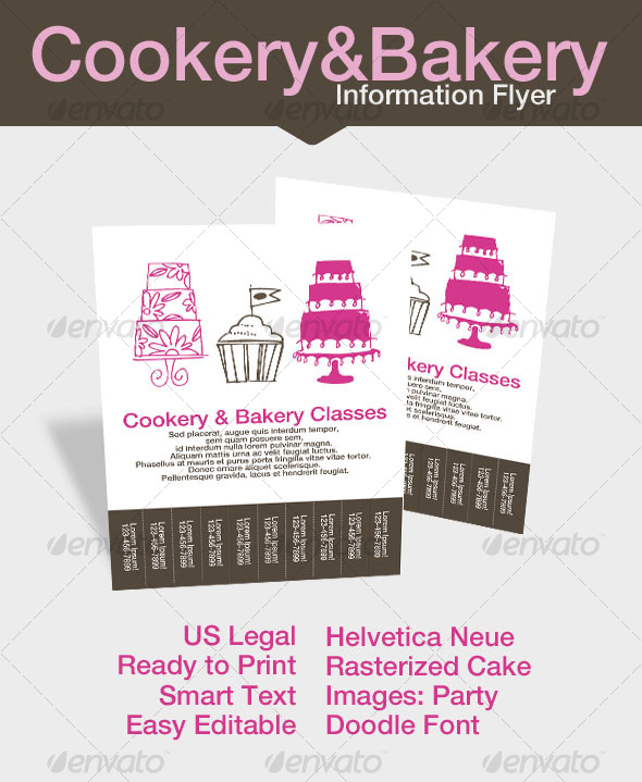 Cookery & Bakery Info Flyer - Restaurant Flyers