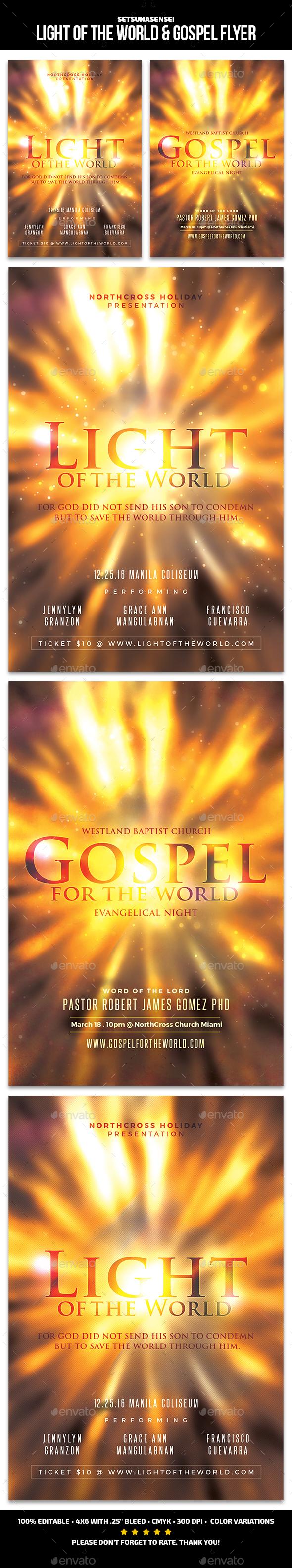 Light of the World & Gospel Flyer - Church Flyers