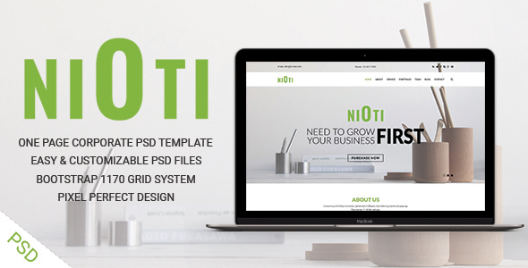 NIOTI – one page Multipurpose psd template