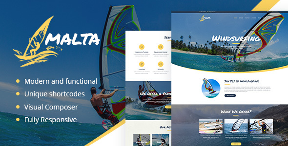 Malta - Windsurfing, Kitesurfing & Wakesurfing Center WordPress Theme