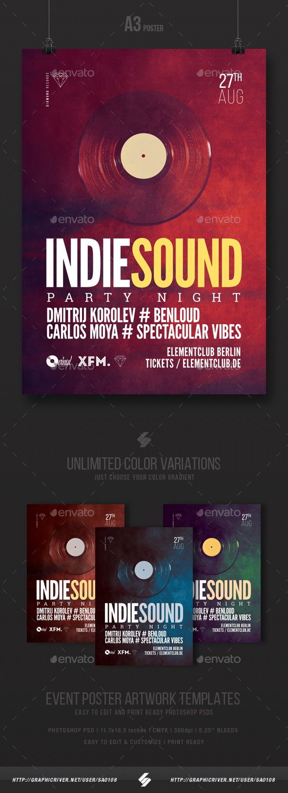 Indie Sound - Party Flyer / Poster Template A3 - Clubs & Parties Events