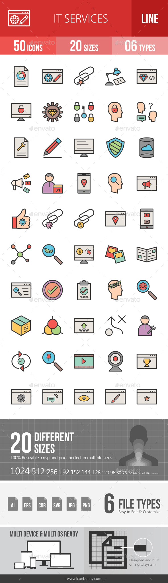 IT Services Line Filled Icons - Icons