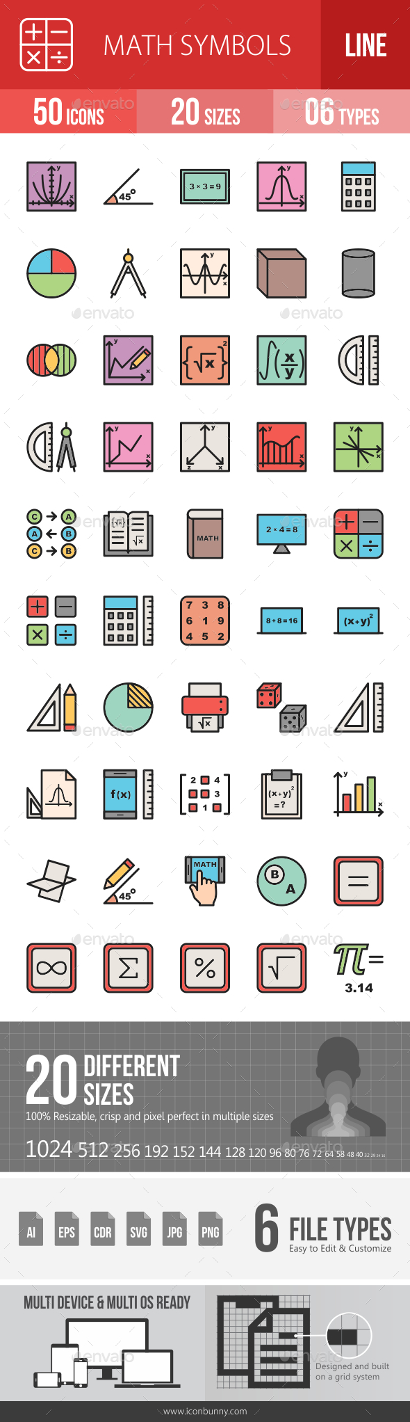 Math Symbols Line Filled Icons - Icons