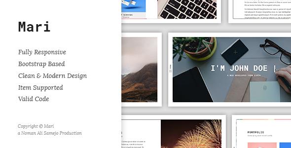 Mari - Responsive Resume / CV / vCard WordPress Theme - Portfolio Creative
