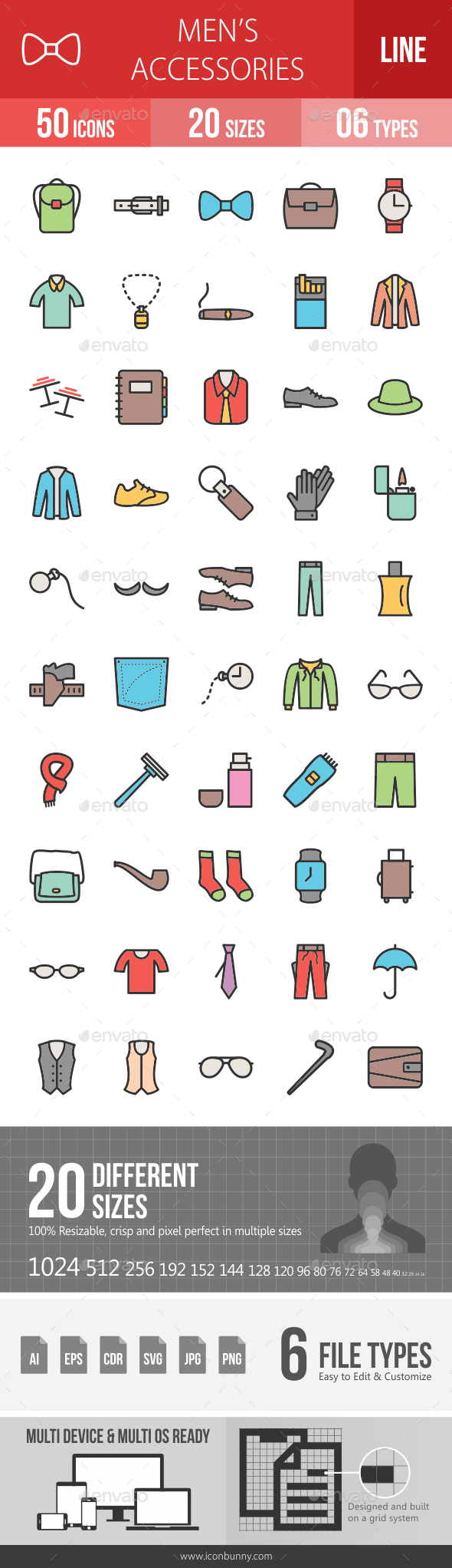 Men's Accessories Line Filled Icons - Icons