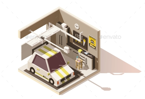 Vector Isometric Low Poly Garage Icon - Buildings Objects