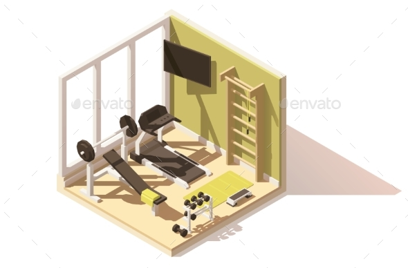 Vector Isometric Low Poly Gym Icon - Buildings Objects