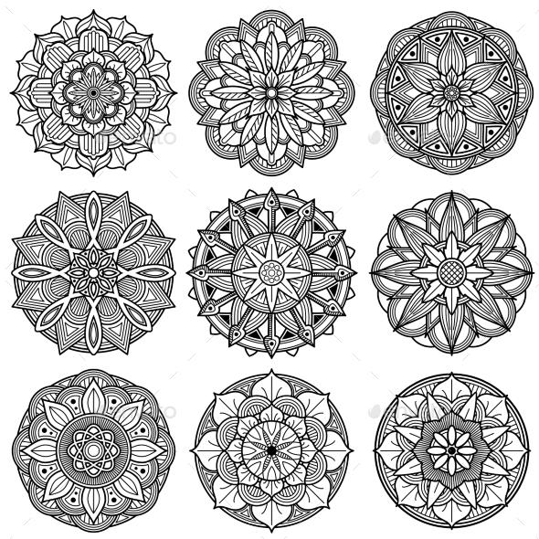 Indian Meditation Mandala Patterns Vector Set - Decorative Vectors