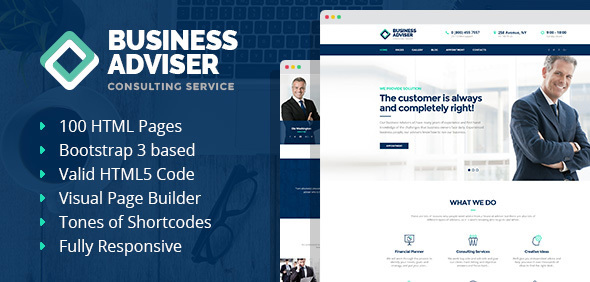 Business Adviser – Multipurpose Business HTML Template with Visual Page Builder