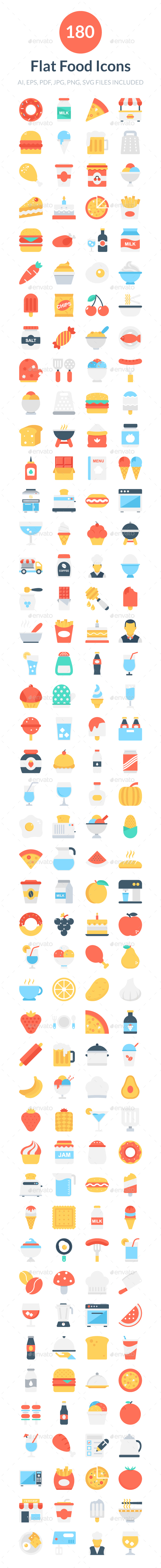 180 Flat Food Icons - Icons