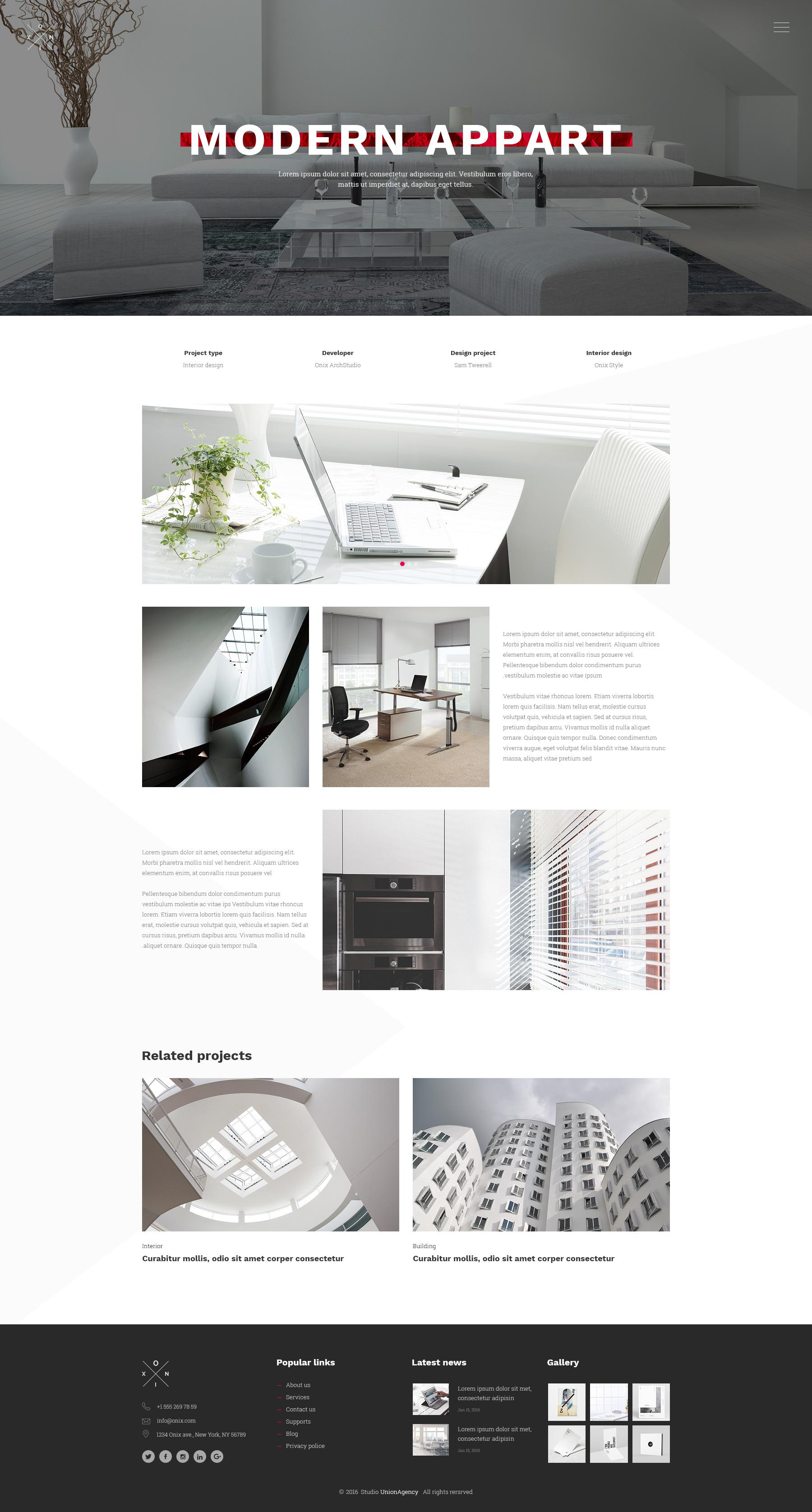 Onix - Multi Purpose Architecture / Interior / Portfolio PSD ...