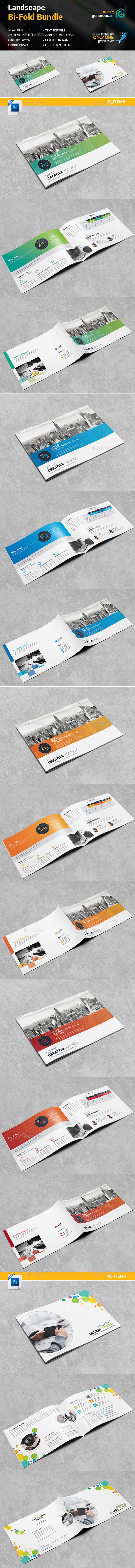 Landscape Bi-Fold Brochure Bundle_2 in 1 - Corporate Brochures