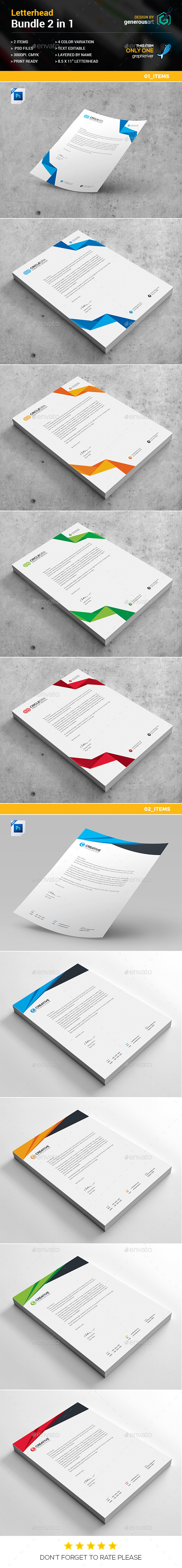 Letterhead Bundle 2 in 1 - Stationery Print Templates