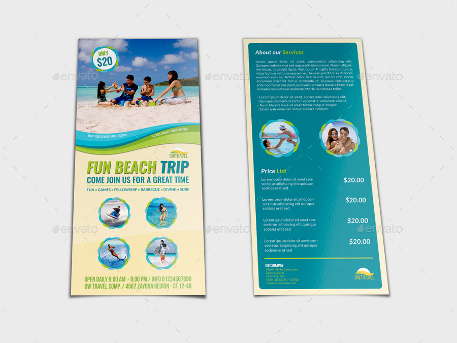 Tour and travel dl size flyer template by owpictures for Dl brochure template