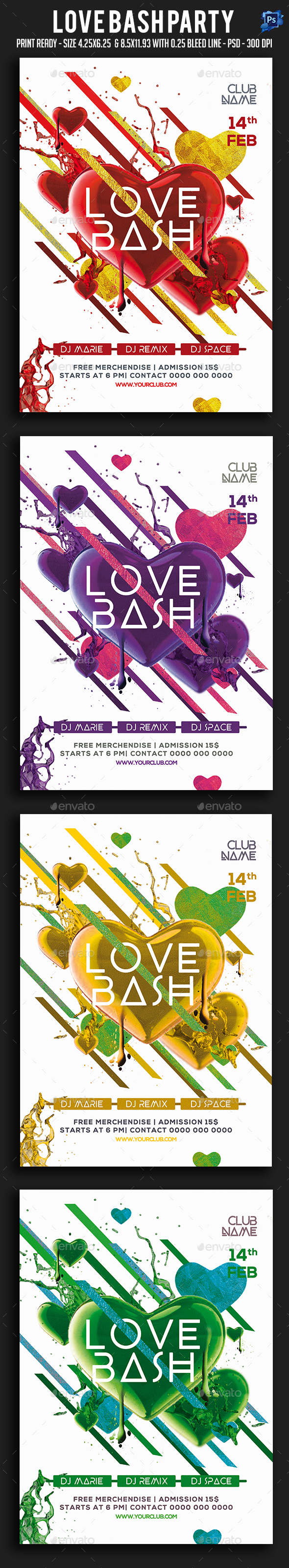 Love Bash Party Flyer - Clubs & Parties Events