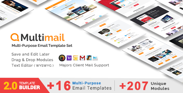 Multimail Responsive Email Template with Template builder