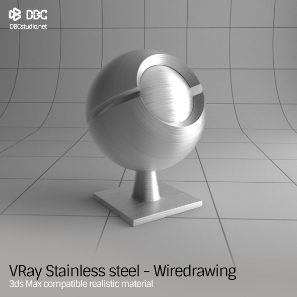 3ds Max V-Ray (Ver 3.4) Stainless steel - Wiredrawing Material - 3DOcean Item for Sale