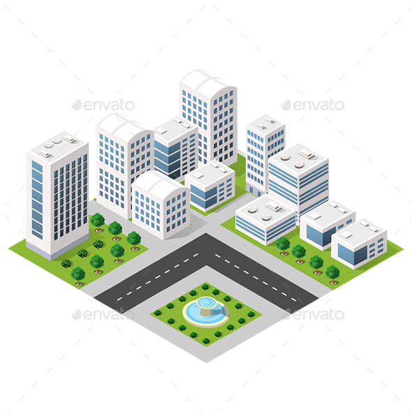 Dimensional View of the City - Buildings Objects