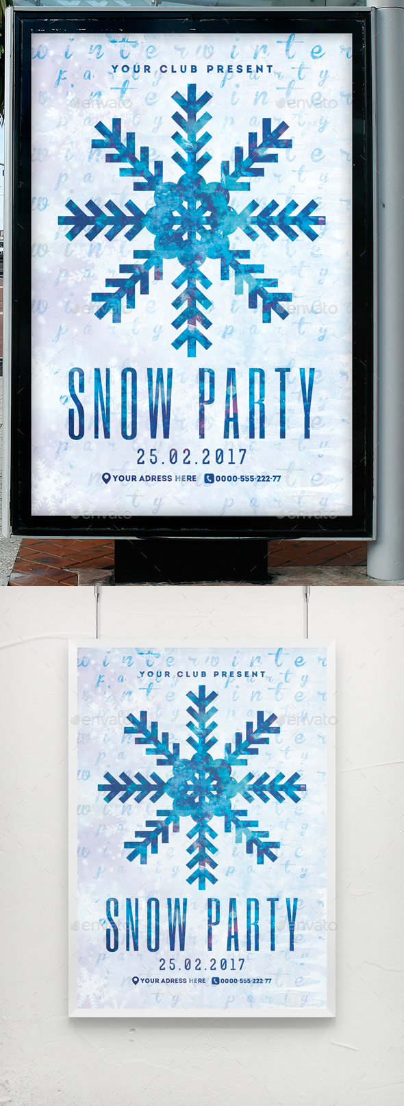 Snow Party Flyer Poster Template - Clubs & Parties Events