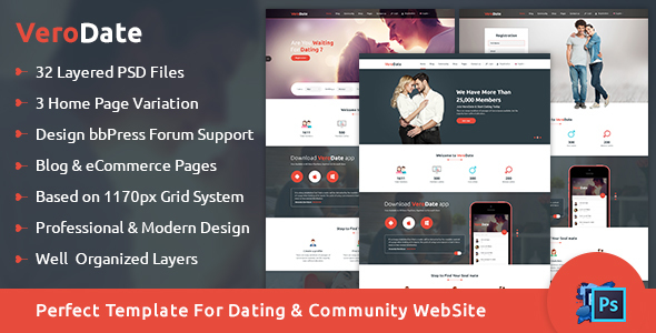 VeroDate – Dating Social Network Website PSD Template
